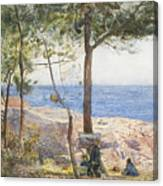An Artist Painting By The Sea Canvas Print