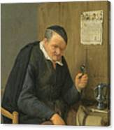 An Elderly Man Seated Holding A Wineglass Canvas Print
