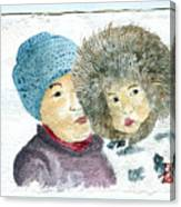 An Eskimo Mother And Child Canvas Print