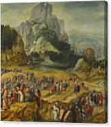 An Extensive Landscape With The Preaching Of Saint John The Baptist And The Baptism Of Christ Canvas Print