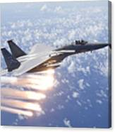 An F-15 Eagle Releases Flares Canvas Print