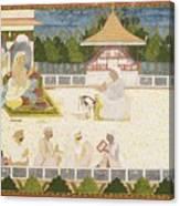 An Illustration Depicting Maharaja Ajit Singh Instructing A Scribe Canvas Print