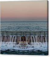 An Imagined Symmetrical Seawall As A Wave Tops It Canvas Print