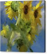 An Impression Of Sunflowers In The Sun Canvas Print