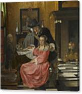 An Interior With A Woman Refusing A Glass Of Wine Canvas Print
