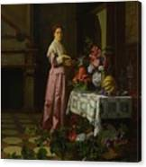 An Interior With Fruit And Flowers Canvas Print