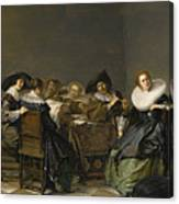 An Interior With Musicians Seated Around A Table  Canvas Print