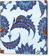 An Iznik Polychrome Pottery Tile, Turkey, Circa 1570-85, By Adam Asar, No 18 Canvas Print