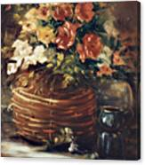 An Old Basket With Flowers Canvas Print