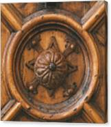 An Old Carved Wooden Door Canvas Print