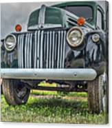 An Old Green Ford Truck Canvas Print