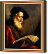 An Old Man Reading P B With Decorative Ornate Printed Frame. Canvas Print