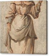 An Old Market Woman Grinning And Gesturing With Her Left Hand Canvas Print