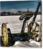 An Old Mower In The Snow Canvas Print