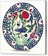 An Ottoman Iznik Style Floral Design Pottery Polychrome, By Adam Asar, No 1a Canvas Print
