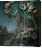 An Outdoor Scene With A Spring Flowing Into A Pool Canvas Print