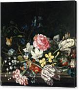 An Overturned Vase Of Flowers Resting On A Ledge Canvas Print
