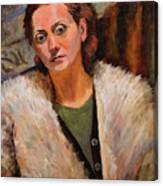 Ana In A Fur Coat Canvas Print