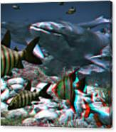 Anaglyph Whales Canvas Print