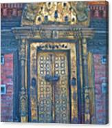 Ancient Door In Katmandu Nepal Canvas Print