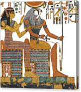 Ancient Egyptian Gods Hathor And Re Canvas Print