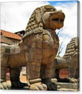 Ancient Lions In Nepal Canvas Print