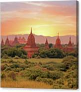 Ancient Pagodas In The Countryside From Bagan In Myanmar At Suns Canvas Print