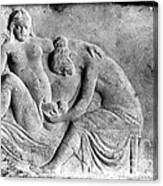 Ancient Roman Relief Carving Of Midwife Canvas Print