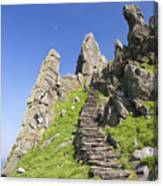 Ancient Steps Leading To Celtic Monastery, Skellig Michael, County Kerry, Ireland Canvas Print