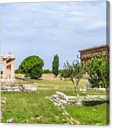 Ancient Temple At Famous Paestum Archaeological, Italy Canvas Print