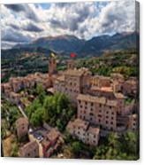 Ancient Village Of Sarnano Italy, Marche, Macerata - Aerial View Canvas Print
