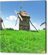 Ancient Windmills In Field Canvas Print