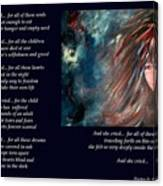 And She Cried - Poetry In Art Canvas Print