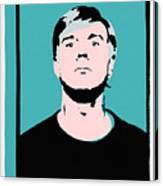 Andy Warhol Self Portrait 1964 On Cyan - High Quality Canvas Print