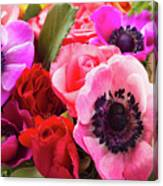 Anemones And Roses Canvas Print
