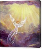 Angel In Mauve Clouds Canvas Print