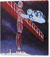 Angel Of The North, Snowman Canvas Print