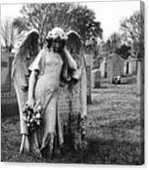 Angel On The Ground At Calvary Cemetery In Nyc New York Canvas Print
