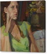 Angela In Green Dress Canvas Print