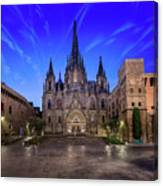 Angels Flying In Front Of The Cathedral Of The Holy Cross And Sa Canvas Print