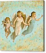Angels Three Children Vintage Canvas Print