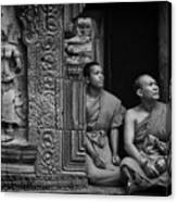 Angkok Wat Buddhist Monks Gather Canvas Print