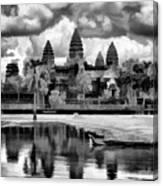 Angkor Wat Black Oil Paint  Canvas Print