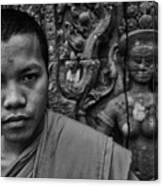Angkor Watbuddhist Monk Portrait Canvas Print