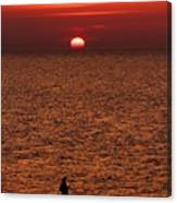 Angler In Summer Sunset Canvas Print