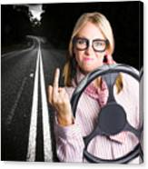 Angry Business Woman Expressing Road Rage Canvas Print