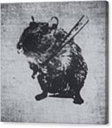 Angry Street Art Mouse  Hamster Baseball Edit  Canvas Print