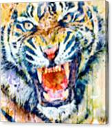 Angry Tiger Watercolor Close-up Canvas Print