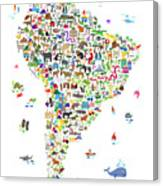 Animal Map Of South America For Children And Kids Canvas Print