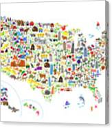 Animal Map Of United States For Children And Kids Digital Art by ...